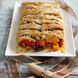 Cheddar, vegetable and chestnut plait