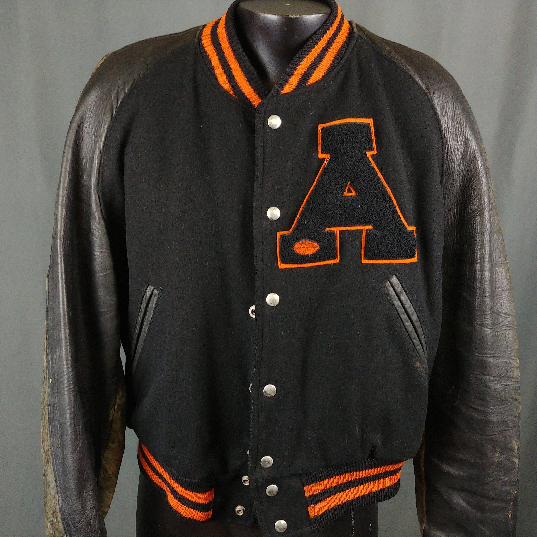 Vtg 1949 Black Letterman Jacket 48 Anderson College University Football Chenille Patch Black Letterman Jacket Letterman Jacket Varsity Jacket Men