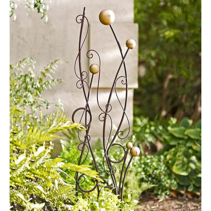 Garden decor trellis  Abstract Iron Trellis  Upcycled  Pinterest  Iron trellis
