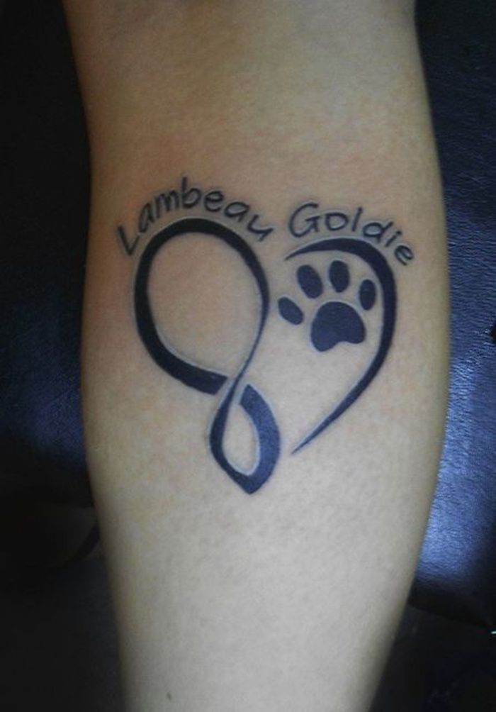 Paw Print Dog Name Tattoo Designs