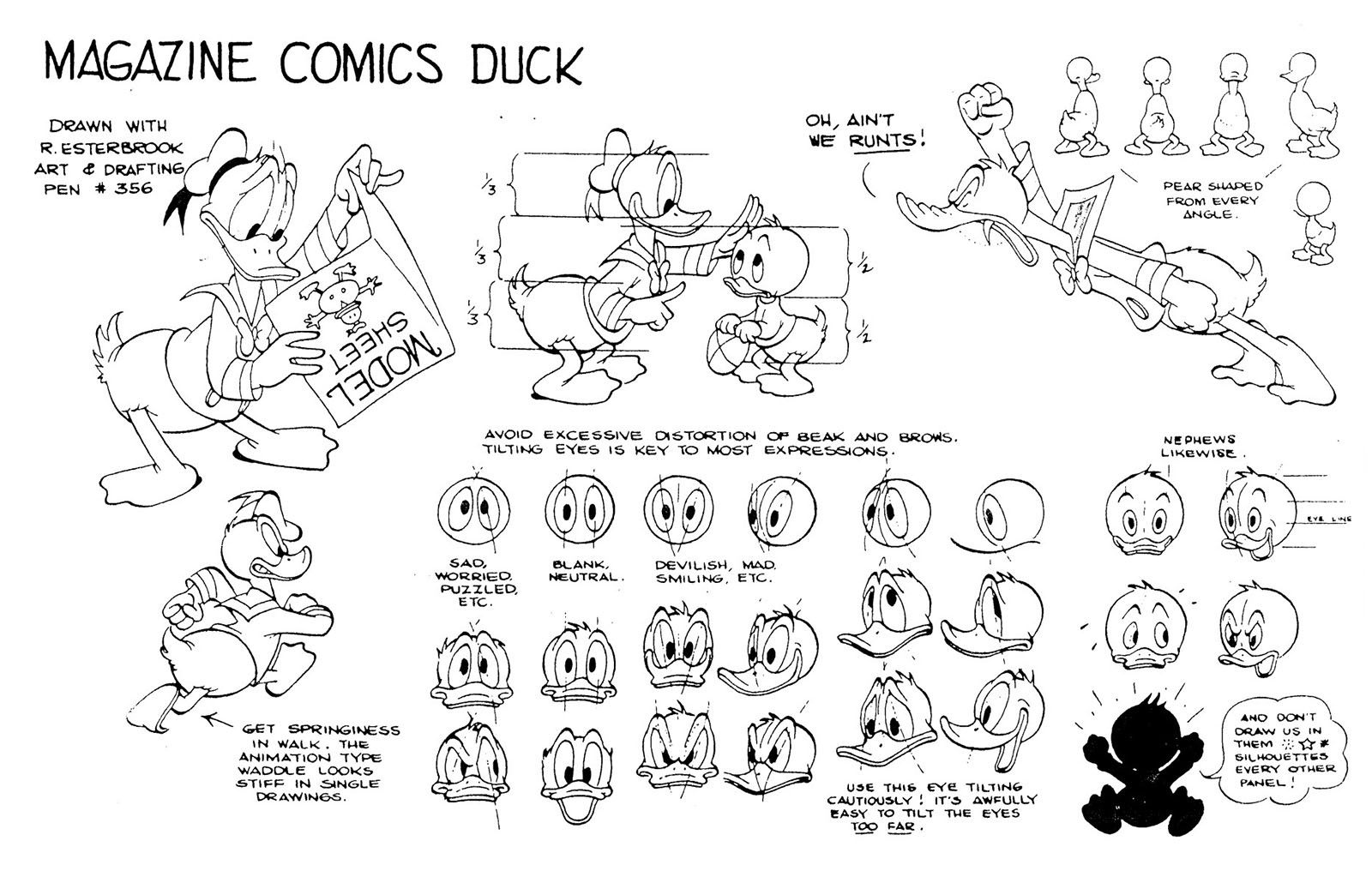 Donald Duck Modelsheet Created By Carl Barks For Other Artists