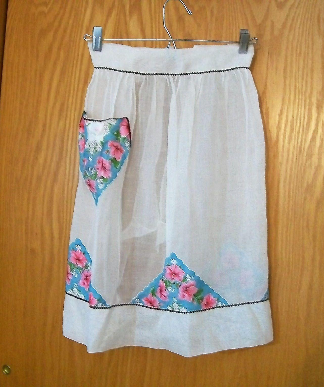 White half apron vintage - Vintage Apron Sheer Apron Pink Flowers White Apron Half Apron Vintage Apron Hostess Apron White Sheer Apron