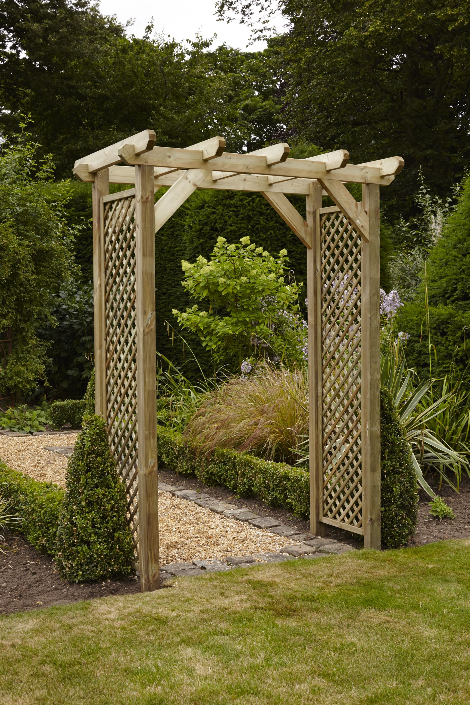 Anchor Fast Squared Lattice Arch Simply Wood Garden Arches