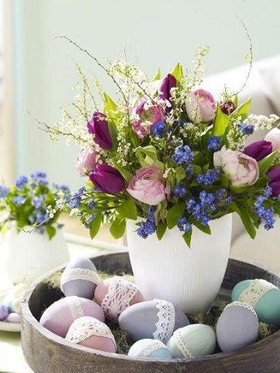 Idéias para a decoração de mesa para a celebração da Páscoa