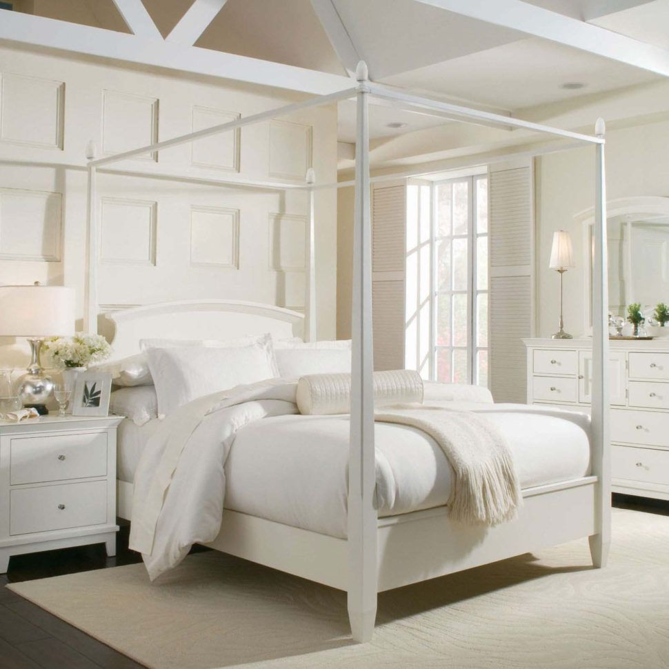 Bedroom:Bedroom Inspiration Elegant Canopy Bed Curtains White Wooden Poster  Beds Oak Woods Materials Cute Cover Bedding Nice Pillows Sweet Bedside  Furniture ...