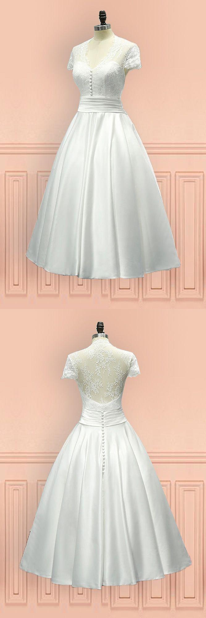 Vintage tea length wedding dress sheer back with cap sleeves e