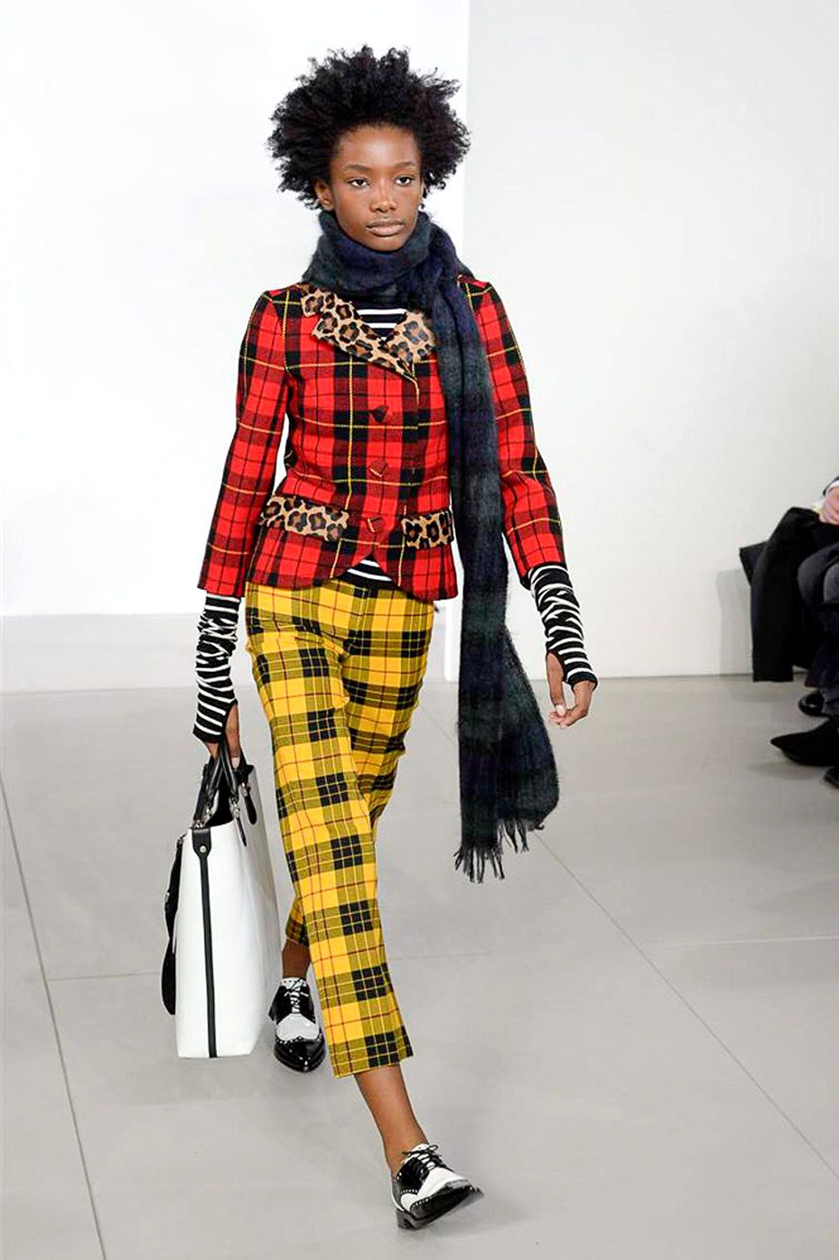 Tartan red and yellow with leopard print trim