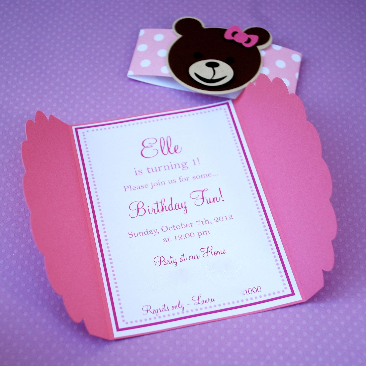 Cute Custom Teddy Bear Invitations and Thank by prettypaperparty