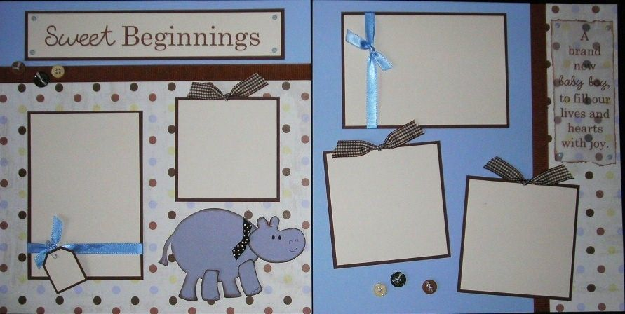 Baby Boy Sweet Beginnings 12x12 Premade Scrapbook Pages 2400 Via