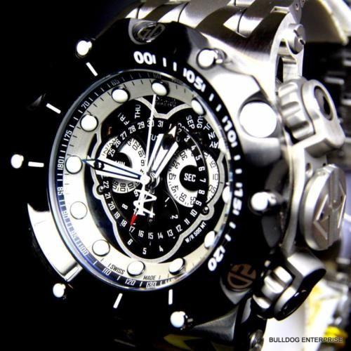 674801b620f Men Invicta Reserve Venom Hybrid Master Calendar Black Steel Swiss Watch New