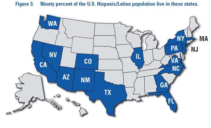 90% of #Hispanics / #Latinos reside in just 16 U.S. states.
