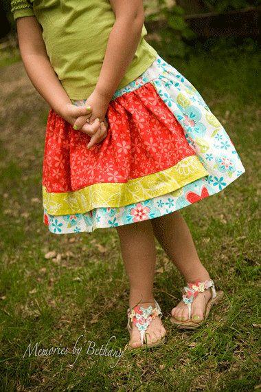 Girls skirt pattern, PDF sewing pattern, SALE Apron Twirl Skirt ...