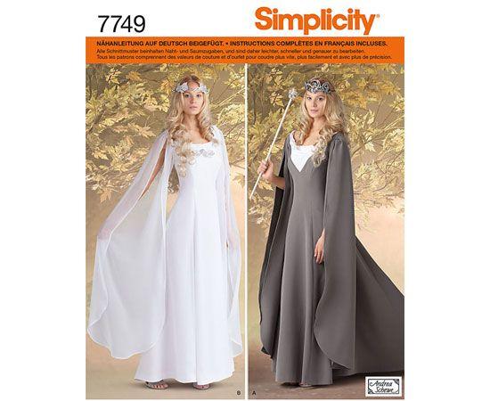 7749 Simplicity Schnittmuster Fantasy Kleid Kostüm | Nähen ...