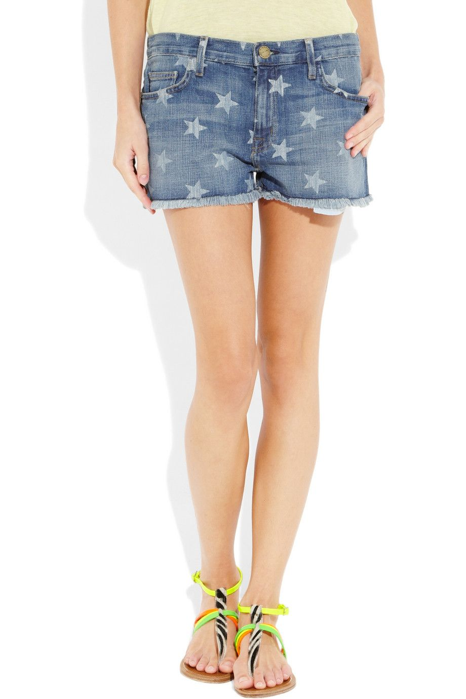 78dc18b444d Current/Elliott | The Boyfriend star-print low-rise stretch-denim shorts