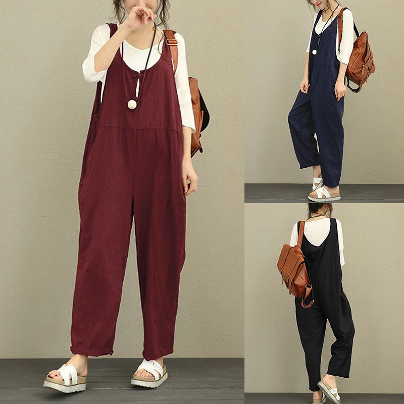 07241a0e67a2 Designer Vintage Pure Color Frog Button Loose Women Sleeveless Jumpsuits -  NewChic Mobile