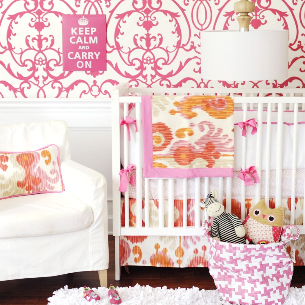 Urban Ikat in Fuchsia 2-Piece Crib Bedding Set at Jack and Jill Boutique