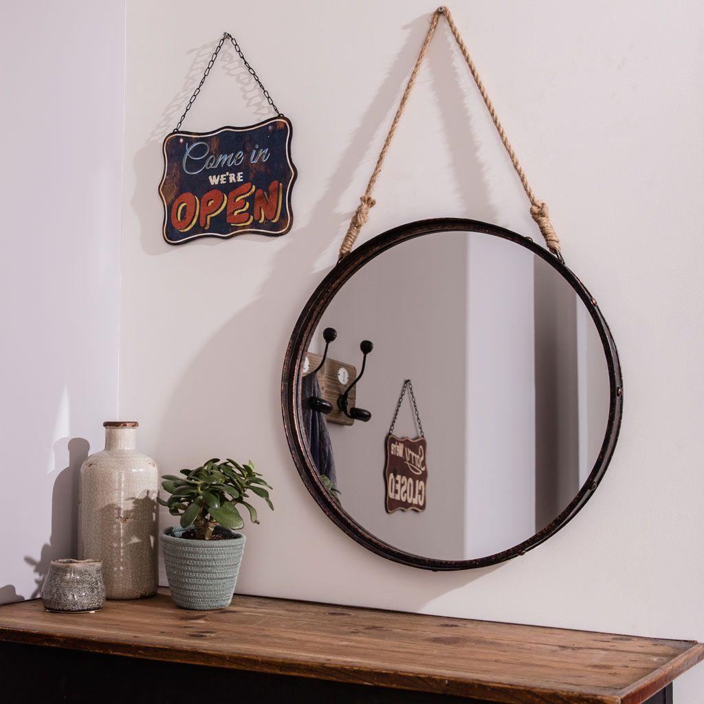 miroir barbier avec un cordage d co pour l 39 accrocher au mur miroir mur en 2018 pinterest. Black Bedroom Furniture Sets. Home Design Ideas