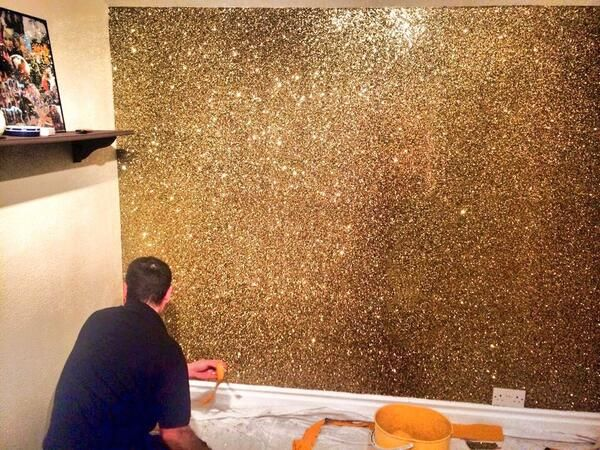 Paint That Looks Like Wallpaper could just deck out a wall with gold. like make something to look