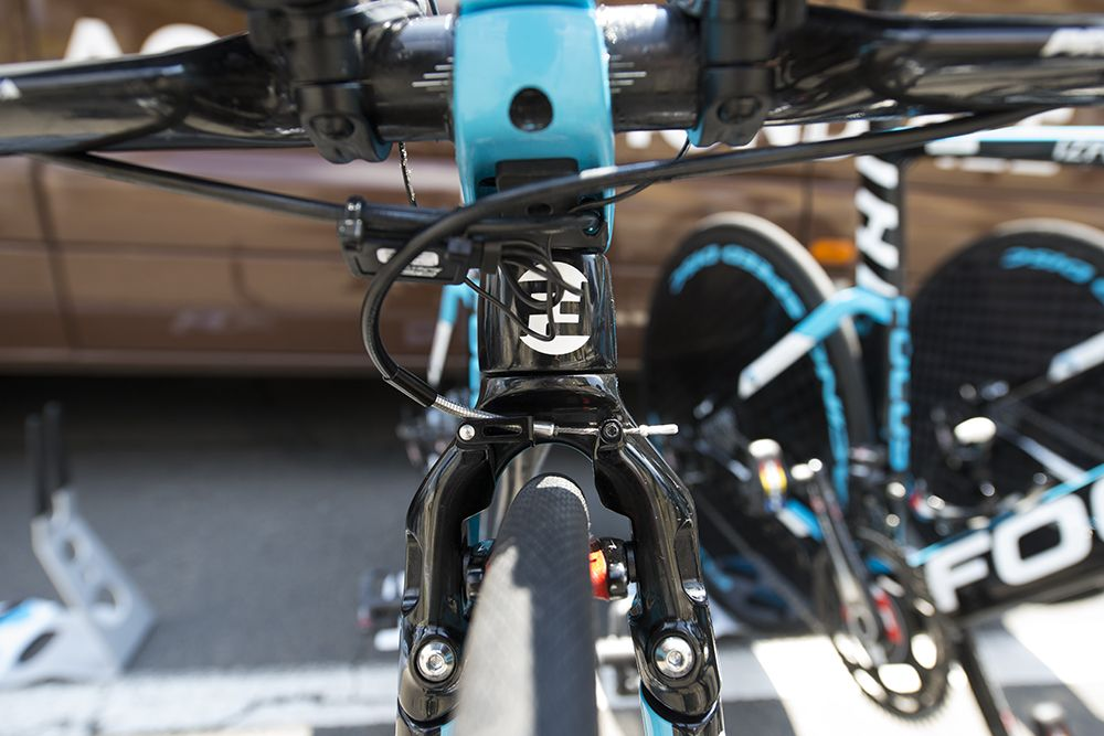 Gallery: Time trial tech at the 2014 Tour de France - Ag2r-La Mondiale's time trial bikes used small linear-pull brakes to reduce wind turbulence and maximize brake power. Photo: Caley Fretz | VeloNews.com