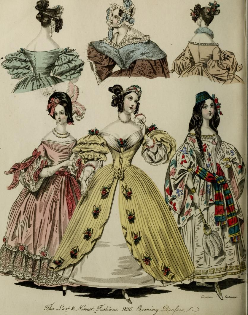 """page from 1836 """"The World of fashion and continental feuilletons, Volume 13"""", viewable online here : http://www.archive.org/stream/worldoffashionco13lond#page/n9/mode/2up"""