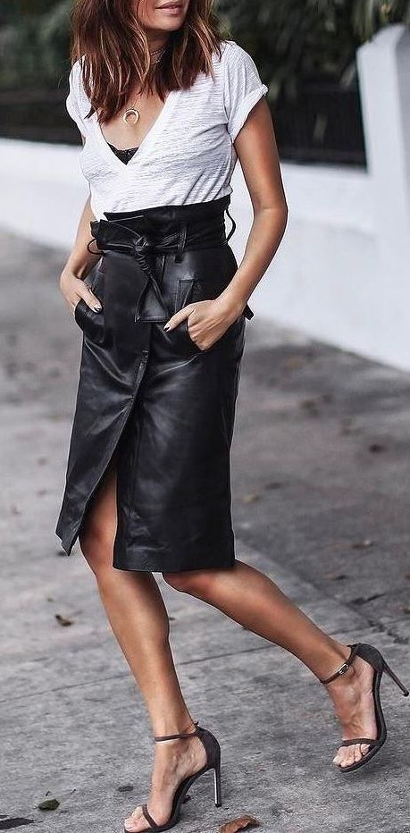 a274a7798322 black & white street style. V neck tee. leather midi skirt. summer ...