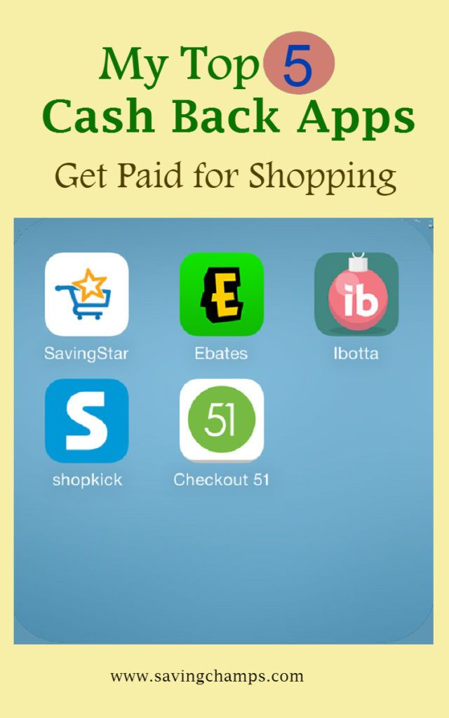 My Top 5 Cash Back Apps Use Those Apps To Get Paid For Shopping Earn Money Online Fast Earn Money Online Earn Money