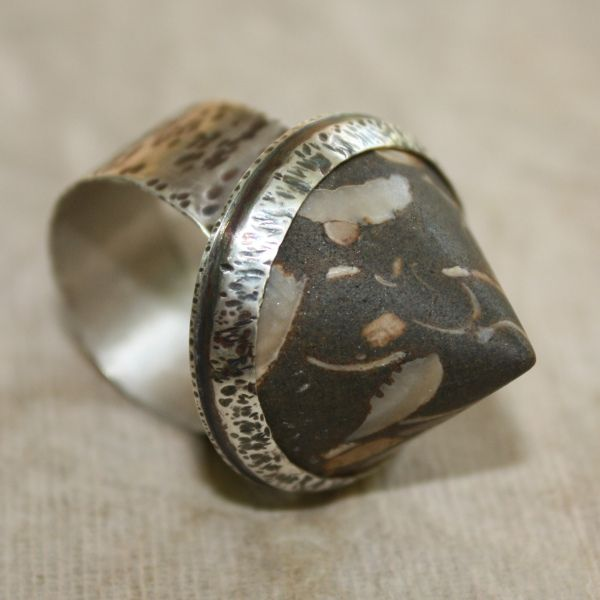 Carol Perich--Sterling Silver and Baja Shellbed Fossil