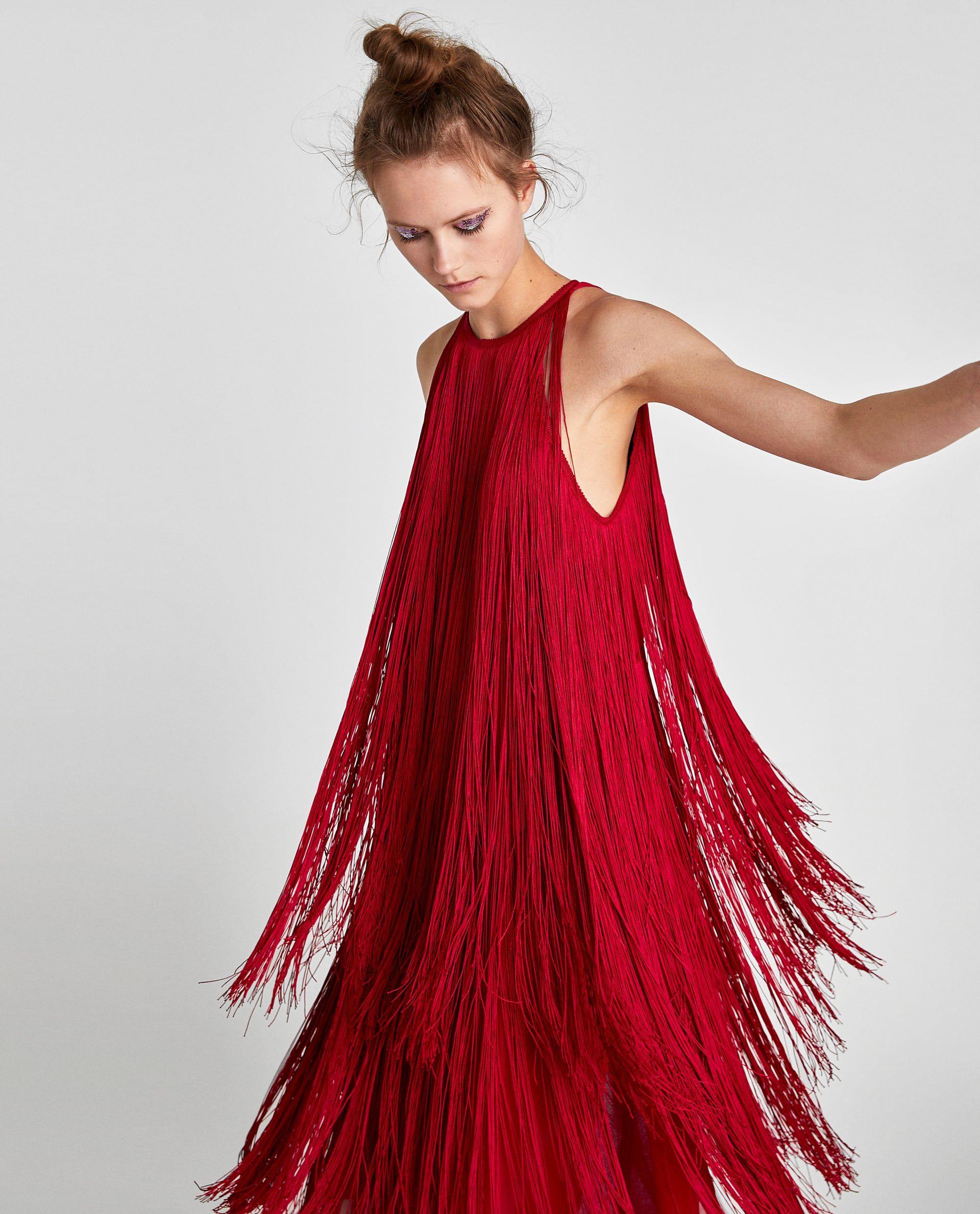 image 4 of maxi fringe dress from zara | fransen, kleider