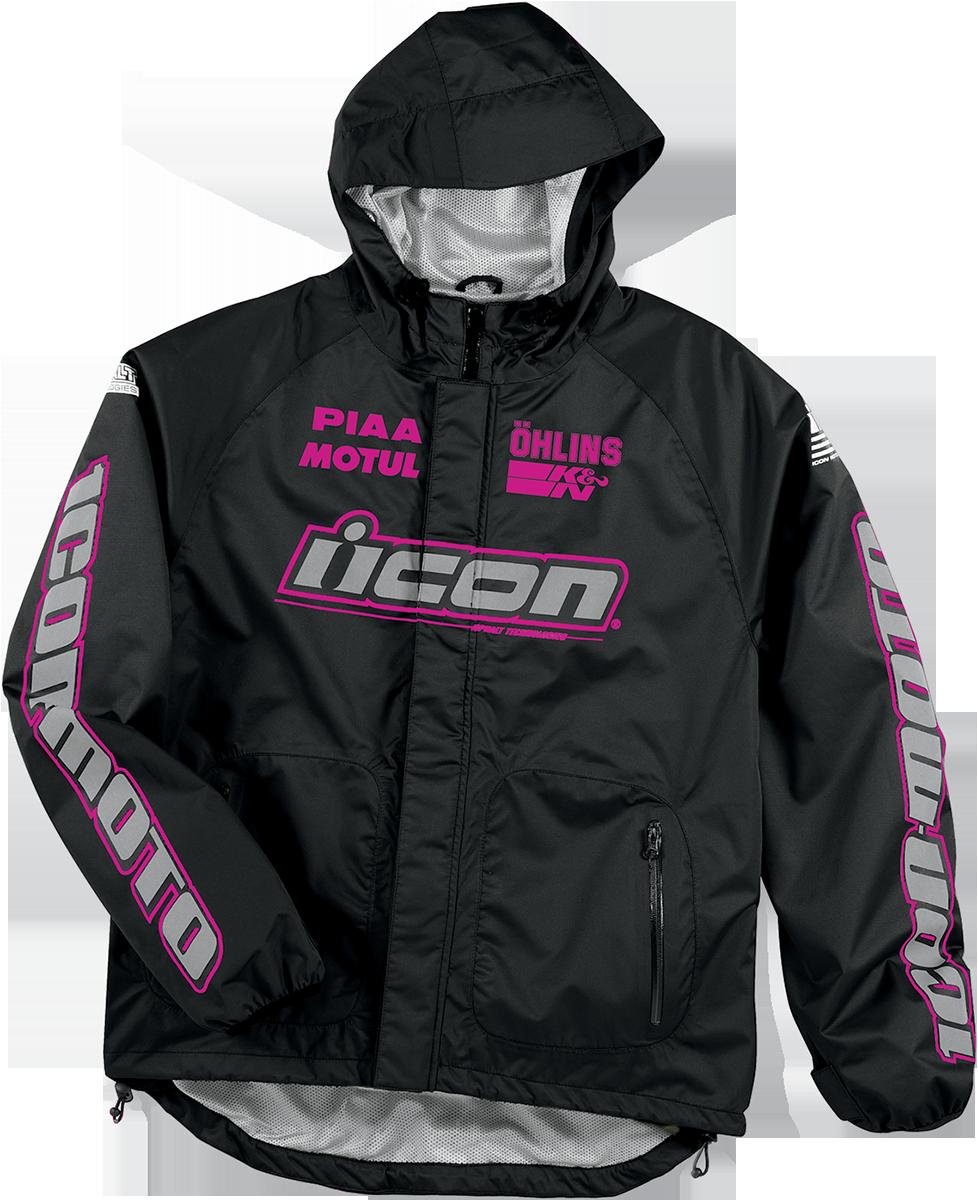 ICON PDX Waterproof Shell Black/Pink Waterproof