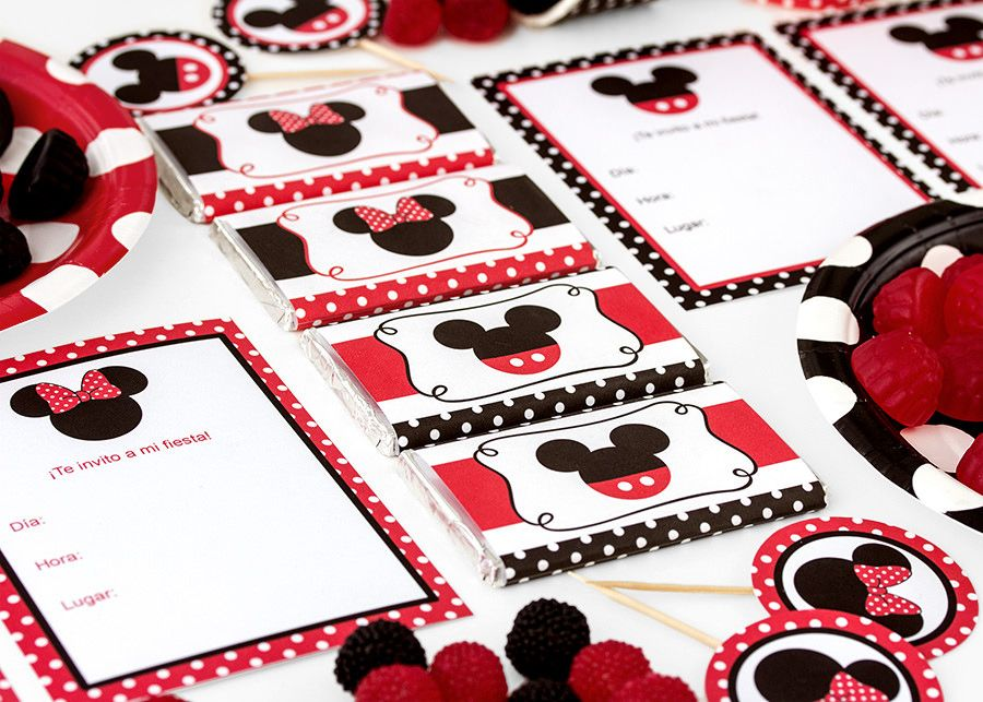 Postreadicción galletas decoradas, cupcakes y cakepops: Imprimible gratuito de Minnie y Mickey Mouse