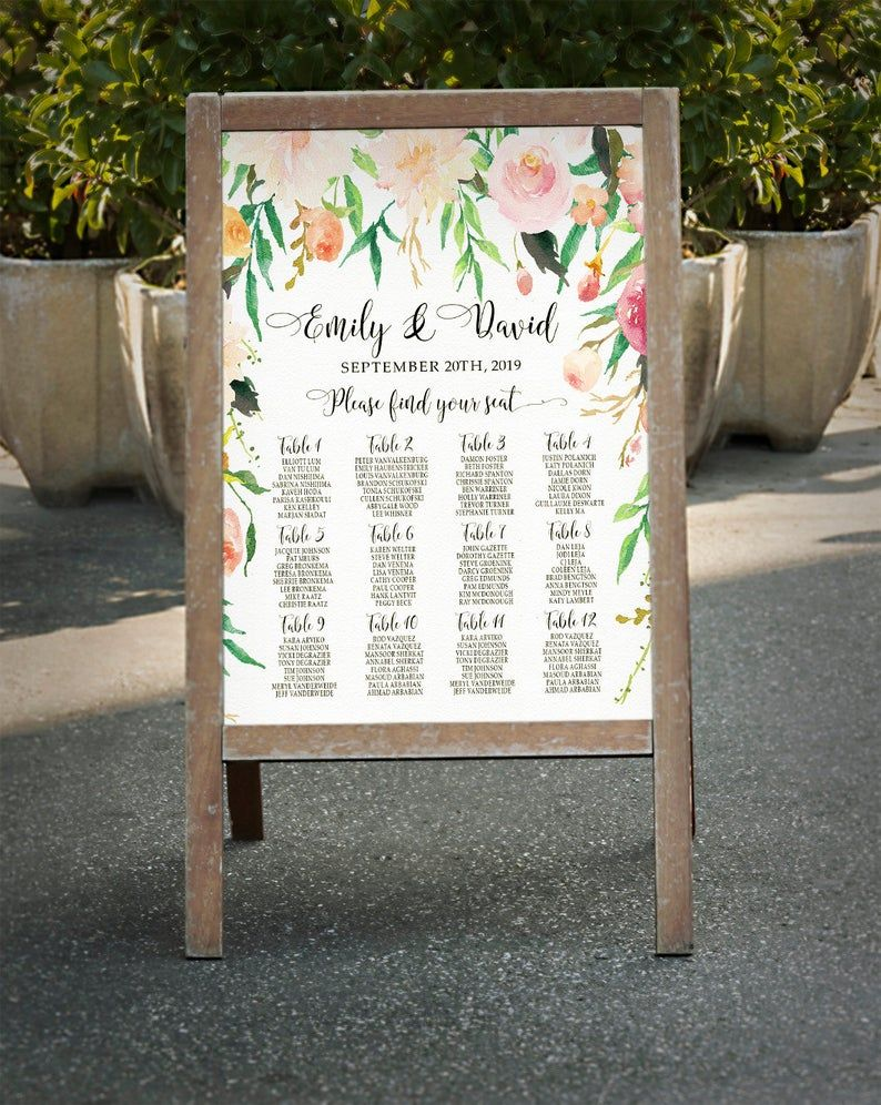 Photo of Personalized Wedding Living Room Chart Romantic Romantic Garden Floral Living Room Floor Printable Watercolor Table Wedding Decor – RGW-24