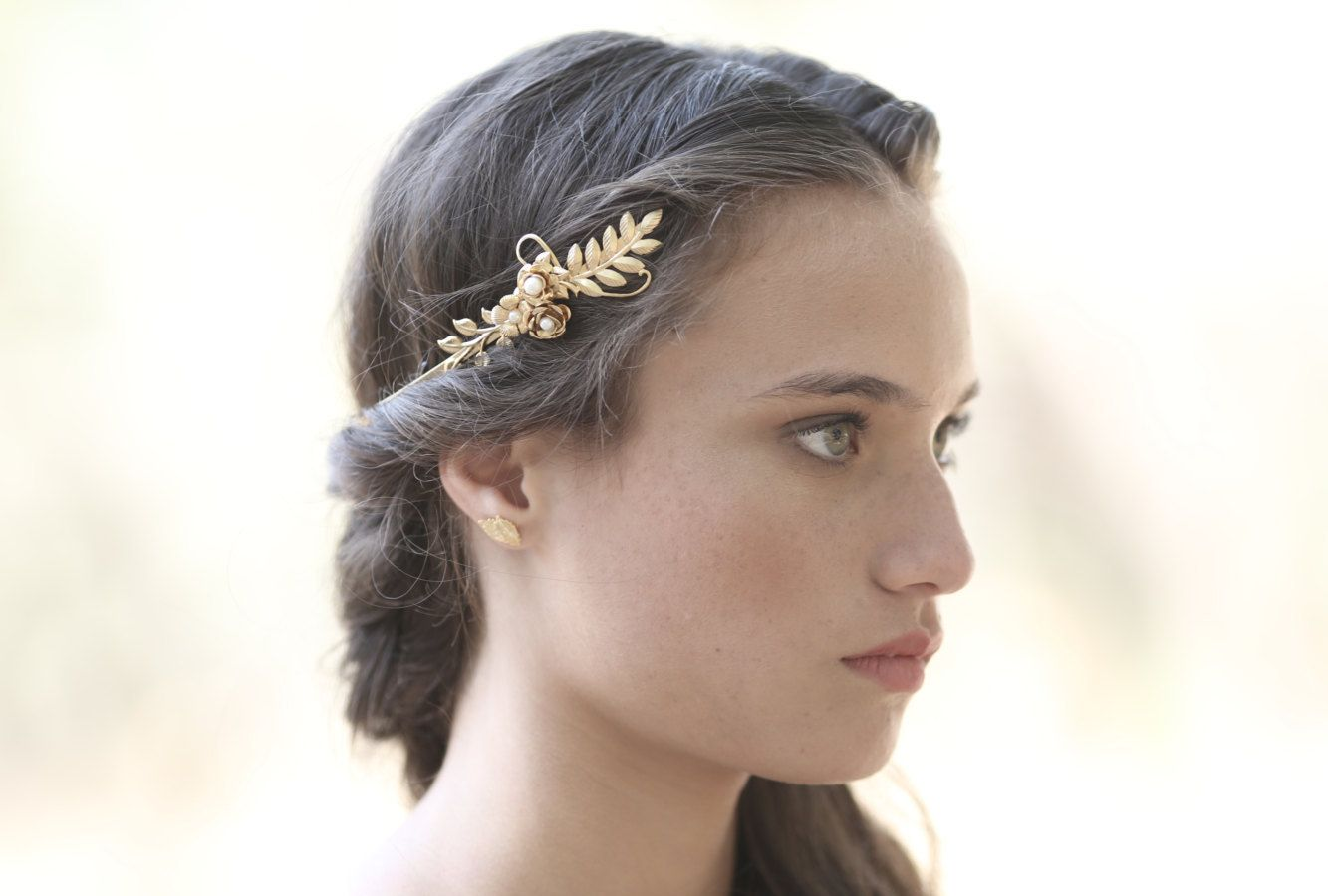 Rose Gold Plated Double Leaves And Pearls Hair Wreath - Rose gold Avigail Adam zsKAq