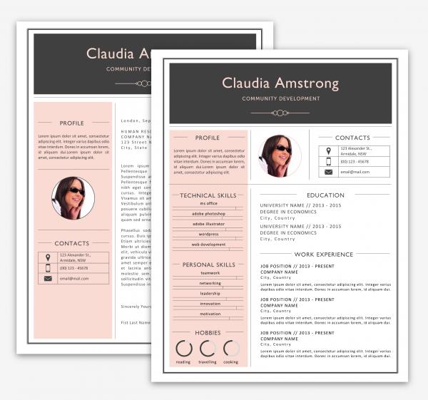 pink  u0026 grey resume pack by kukook