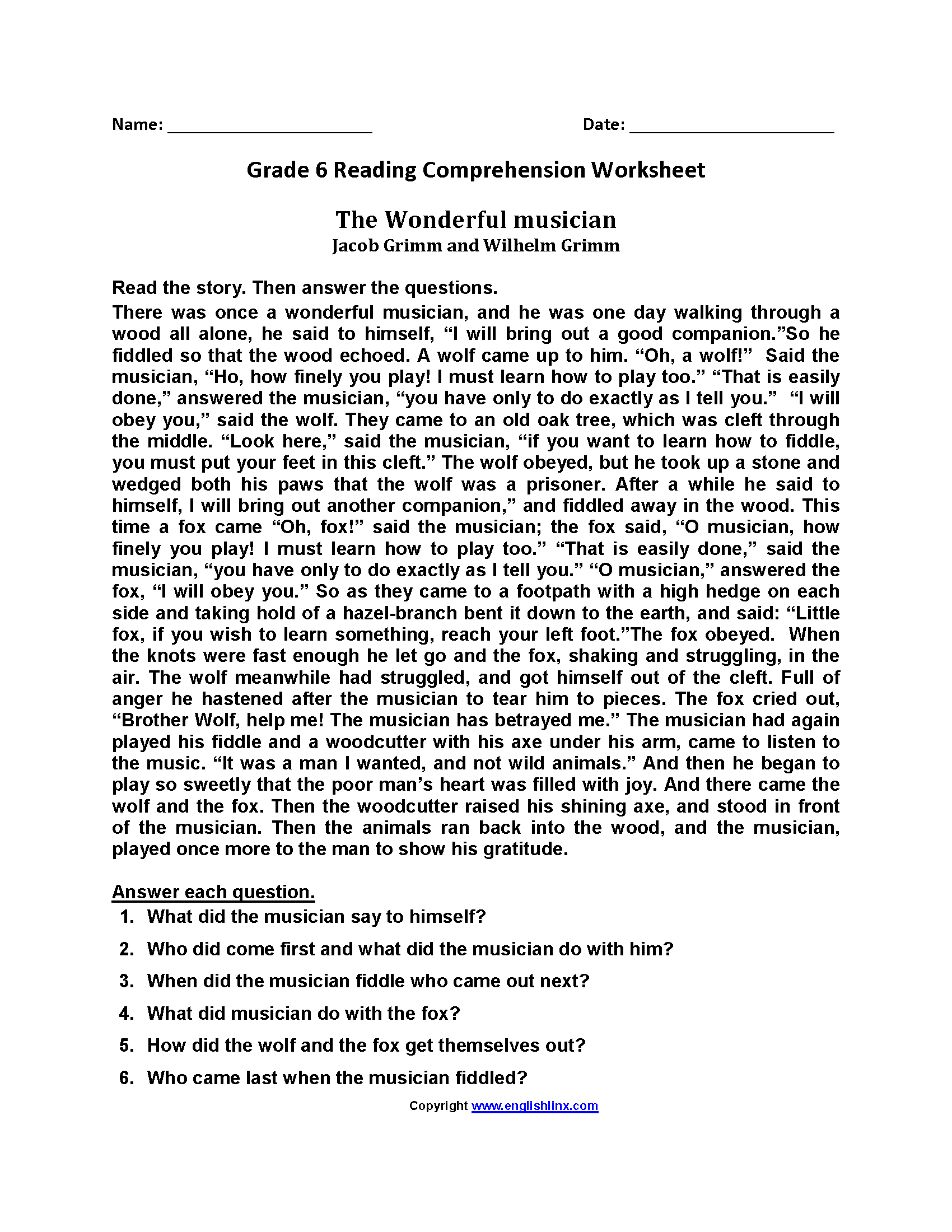 The Wonderful Musician Sixth Grade Reading Worksheets