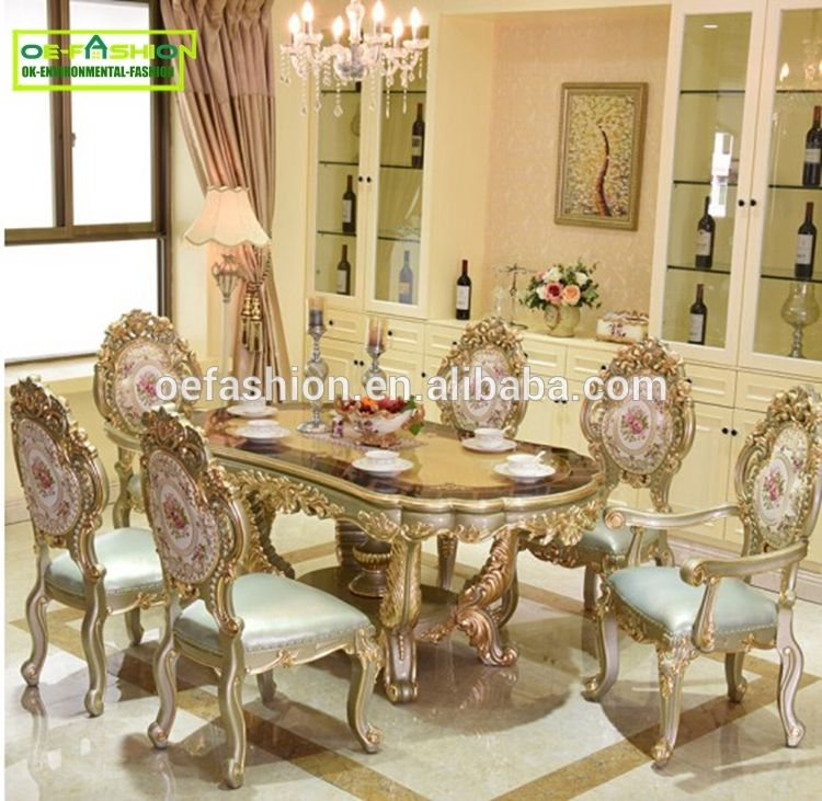 Luxury Newest Style Classic Rectangle Hand Carving Gold Dining
