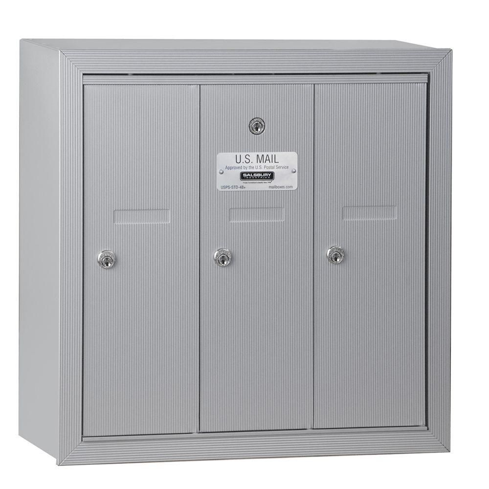 Salsbury Industries Aluminum Surface Mounted Usps Access Vertical Mailbox With 3 Door Silver Mailbox Mail Center Locker Storage