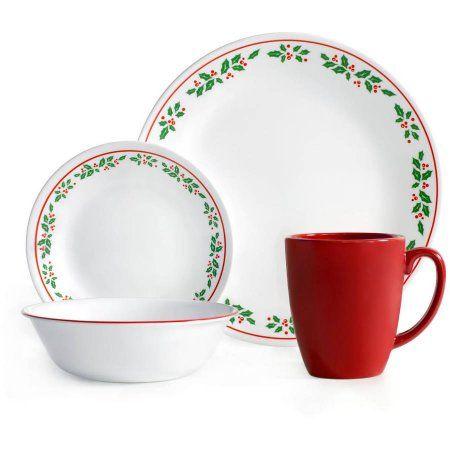 Corelle Livingware 16-Piece Dinnerware Set, Winter Holly, Green ...