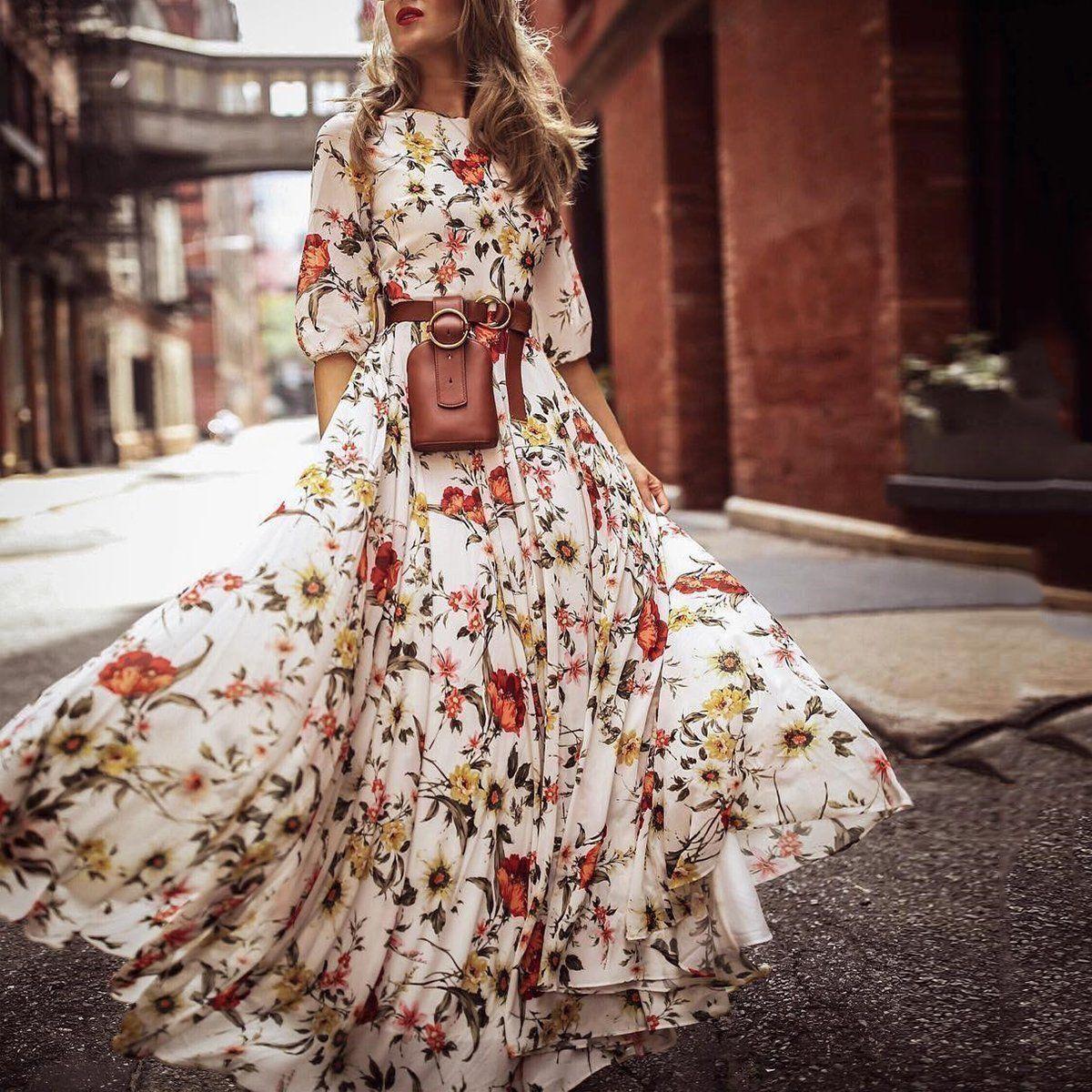 Stylish Elegant Floral Print Half Sleeve Maxi Dresses Maxi Dress Print Chiffon Maxi Dress Maxi Dress With Sleeves [ 1200 x 1200 Pixel ]