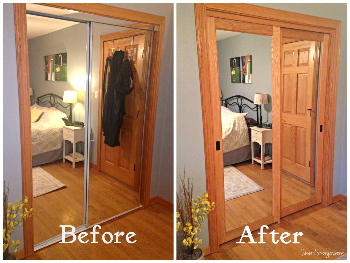 Closest Door Makeover Mirror closet doors, Closet door