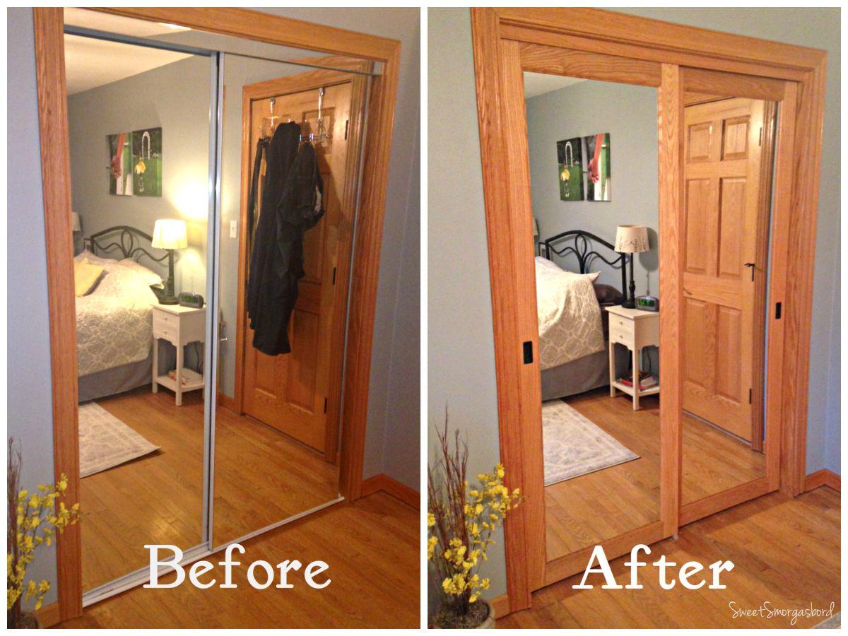 Closest door makeover mirror closet doors closet door