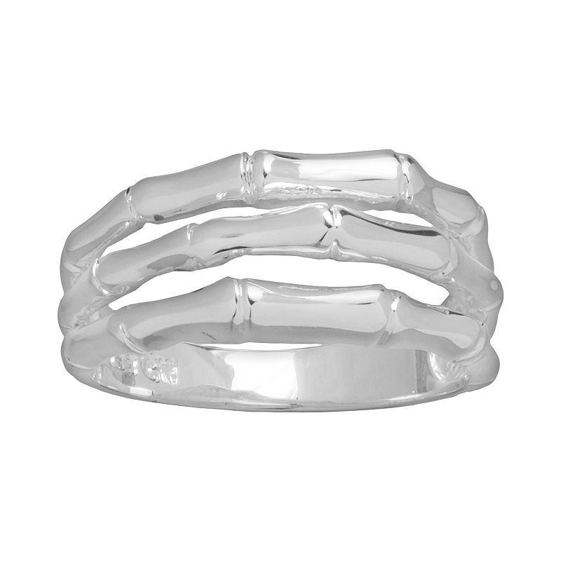 Silver Plated Openwork Multirow Ring, Women's, Size: 6, Grey
