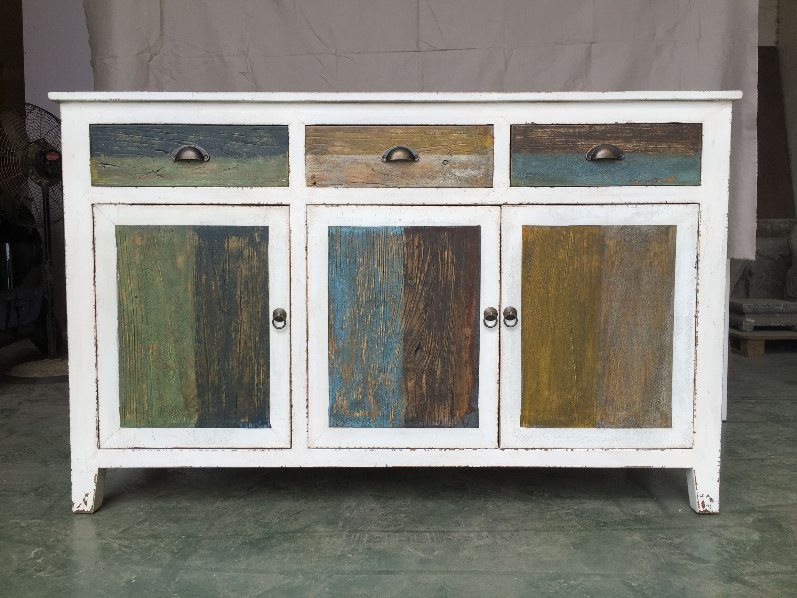 White buffet table furniture - Rustic Distressed White Furniture With Multi Color Drawers Doors Sideboard Buffet Storage Cabinet Durable