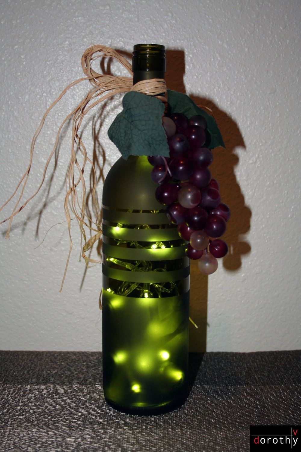 Decorative Wine Bottle Lamp With Led Lights Frosted Wine