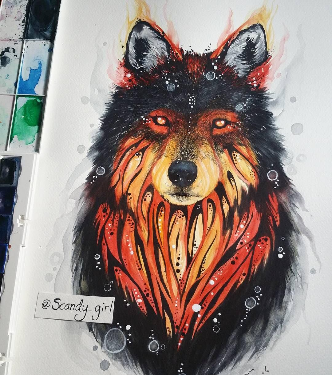 "Amazing Wolf: ""Amazing Wolf ️ Artist: @scandy_girl . #art #artist"