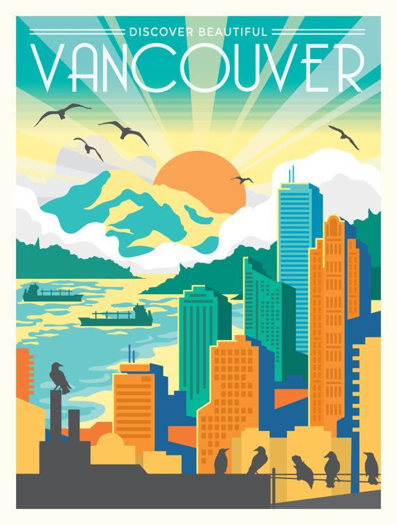 Discover Vancouver Travel Poster Etsy Travel Posters Retro Travel Poster Vancouver Travel