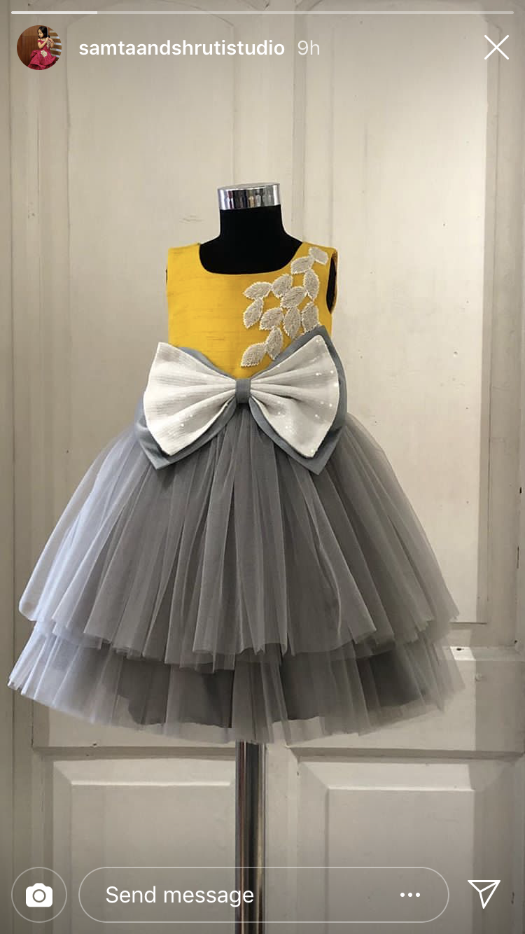 5a86ecc841a8 Kids party evening dress yellow grey bow tulle