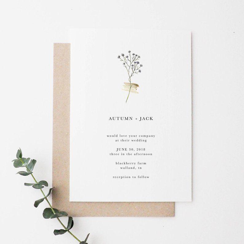 Simple Wedding Invitation | Floral Wedding Invitation