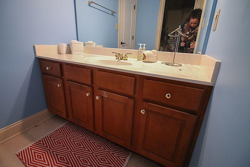 how to refinish a bathroom vanity | bathroom vanities, refinish