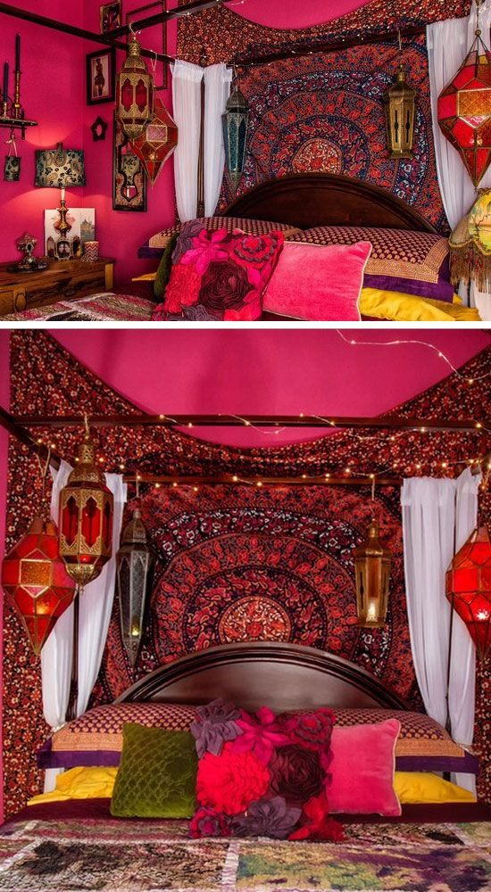 Bold pink colors click pic for 21 diy bohemian bedroom for Gypsy bedroom decor