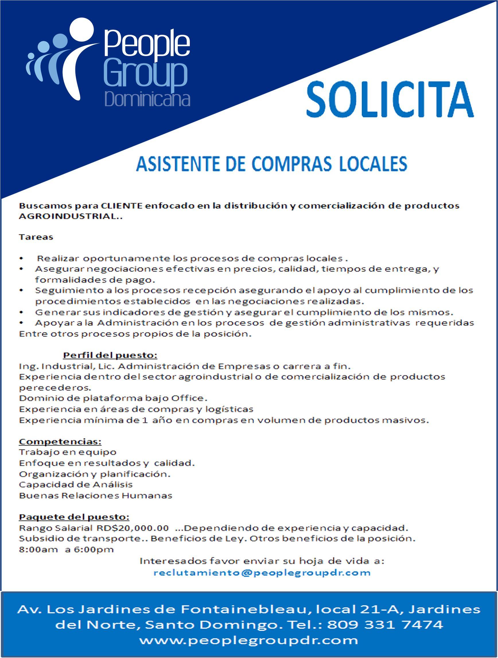 Buscamos ASISTENTES DE COMPRAS LOCALES, enviar cv a reclutamiento ...